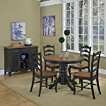 "French Countryside Black/Oak 42"" Round Pedestal Dining Table with 4 Chairs by Home Styles"