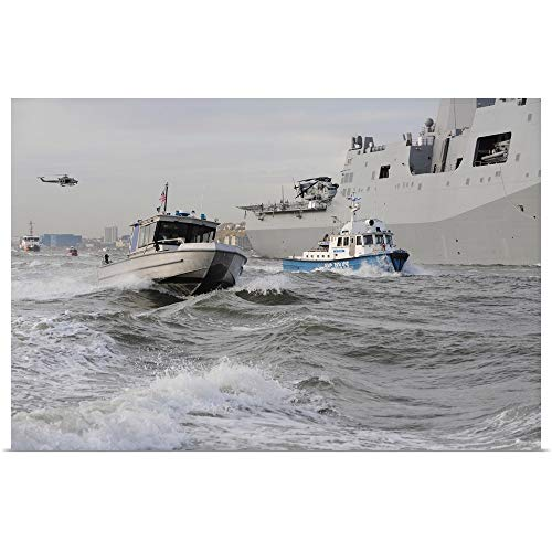 GREATBIGCANVAS Poster Print Entitled Crews from The Coast Guard and Police Departments Escort USS New York by Stocktrek Images 18