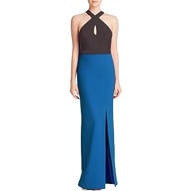 Nicole Miller Womens Colorblock Semi Formal Maxi Dress Black 8 At