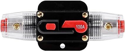 Keenso - Portafusibles de reinicio de circuito para coche, barco, caja de fusibles, impermeable para protección del sistema, 12V-24V 50A 60A 80A 100A: Amazon.es: Coche y moto