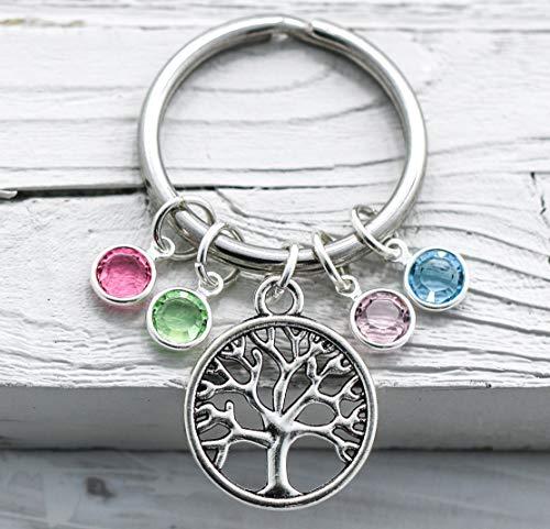 Mom Birthstone Keychain - Family Tree Jewelry - Mother