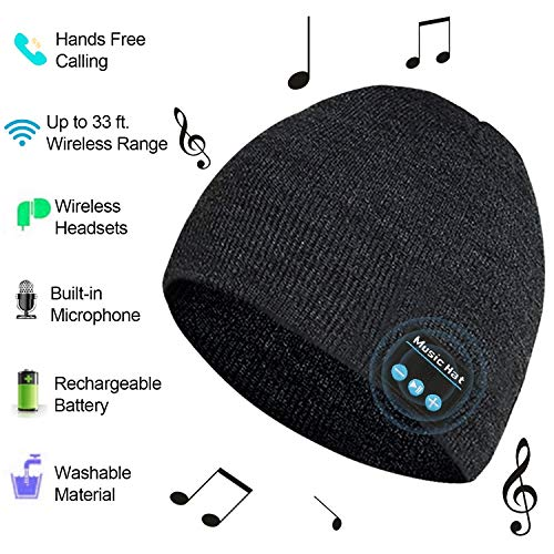 Bluetooth Hat, Bluetooth Beanie for men women, Wireless Music Hat with Built-in Stereo Speakers Fit for Outdoor Sports, Christmas(Dark Grey)