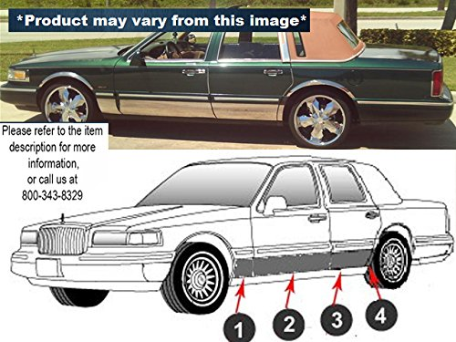 QAA FITS TOWN CAR 1990-1997 LINCOLN (8 Pc: SS Rocker Panel Body Accent Trim, 3.5