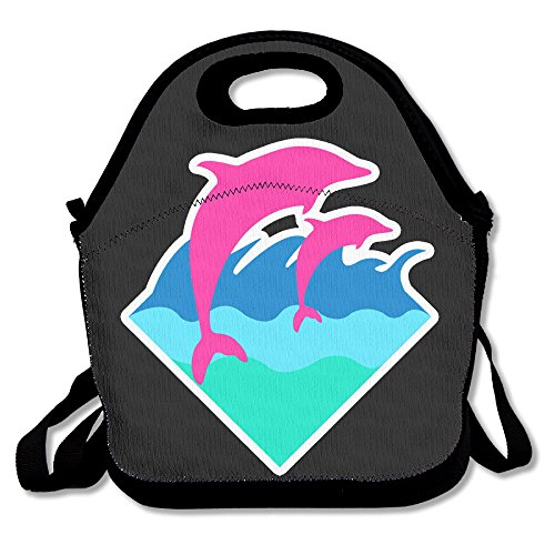 Xiisxin Pink Dolphin Lunch Tote Bag - Large & Thick Insulated Tote - Suit For Men Women - Blog Thick Women