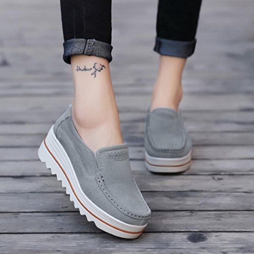 Leather Espadrilles Walking up VEMOW Running Creepers Muffin Trainers Dance Lace Moccasins Flops Sandals Janes Flip Wedge Mary Thongs for Women Flats Cute Gray Flats Sneakers wwqAOa1
