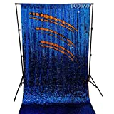 DUOBAO Sequin Backdrop 8Ft Royal Blue to Orange Wedding Pics Backdrop Mermaid 4FTx8FT Sequin Backdrop Curtain Reversible