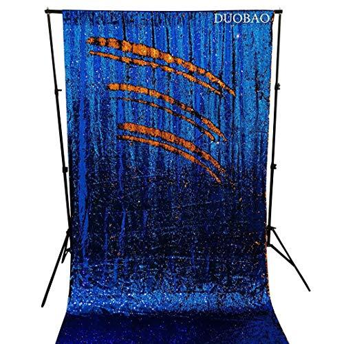 DUOBAO Royal Blue to Orange Sequin Backdrop Fabric Mermaid Sequin Backdrop 4FTx6FT Photo Booth Curtain Royal Blue and Orange Wedding/Birthday Christmas -