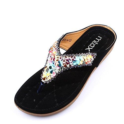 LIXIONG Portátil Las sandalias de las mujeres planas del resorte y del verano calzan los zapatos nacionales de la playa del color antideslizante suave -Zapatos de moda ( Color : Negro , Tamaño : EU37/ Negro