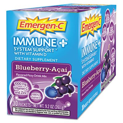 Alacer Emergen-C Immune System Support De plus la vitamine D Blueberry Acai - 30 Packets