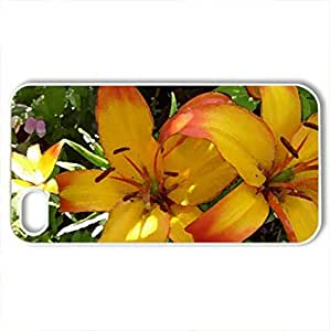 Lilium asiatic grand cru - Case Cover for iPhone 4 and 4s (Flowers Series, Watercolor style, White)