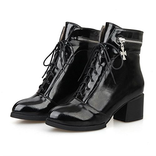 AmoonyFashion Womens Kitten-heels Low-top Blend Materials Round Closed Toe Boots Black NLnvos