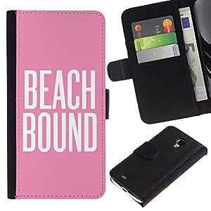 A-type (Beach Bound Pink White Text Summer) Colorida Impresión Funda Cuero Monedero Caja Bolsa Cubierta Caja Piel Card Slots Para Samsung Galaxy S4 Mini i9190 (NOT S4)