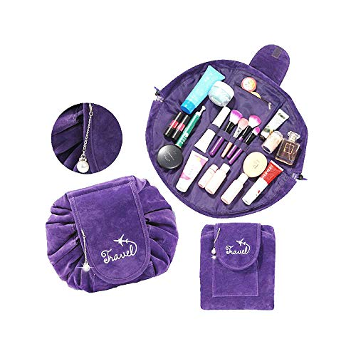 Lazy Drawstring Cosmetic Bag with Inside Brush Holder Portable Velvet Makeup Bag Quick Pack Large Capacity Magic Toiletry Bag for Women Girls 20x20 Inch Purple