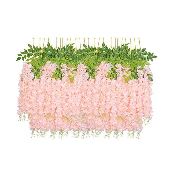 HEBE 24 Pack (80 FT) Artificial Wisteria Vine Ratta Silk Hanging Flower Garland Vine Wedding Decor Fake Long Dense Wisteria Hanging Bush Flowers String Home Party Decor,Pink