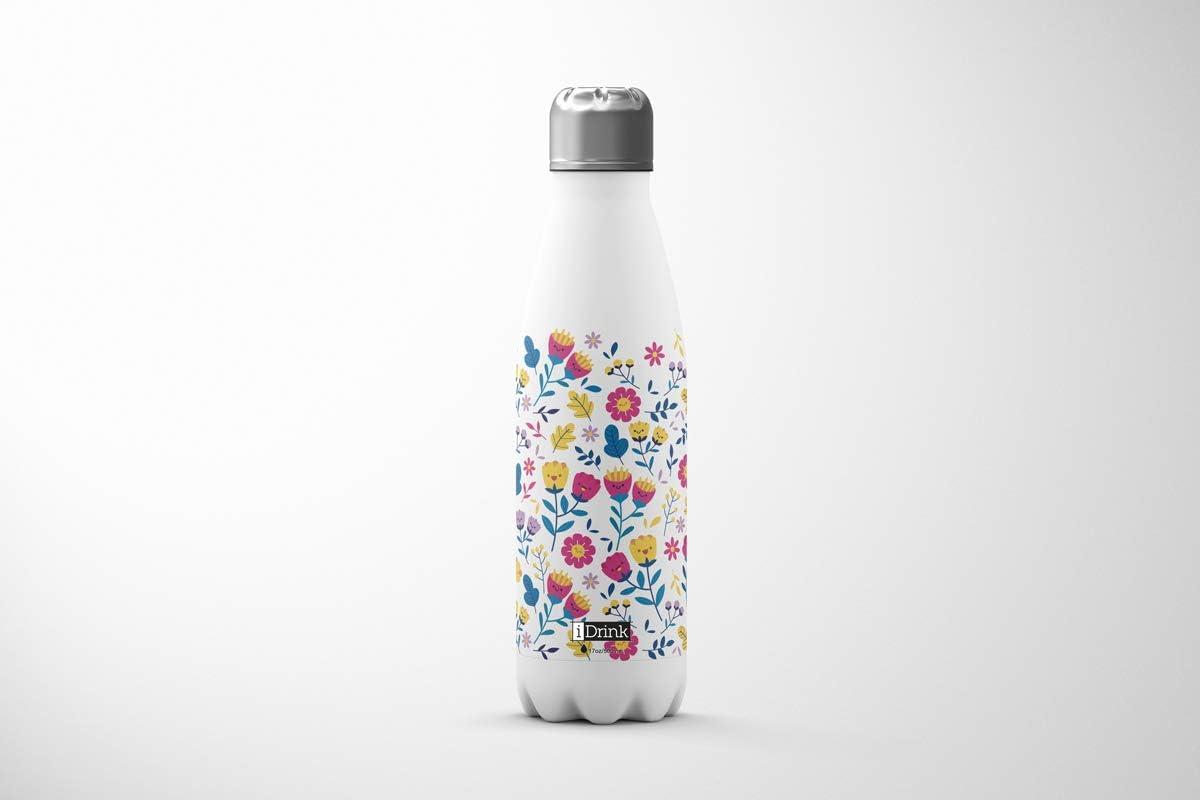 i-Drink Botella de Doble Pared Acero, térmica Flores 500ML: Amazon.es: Hogar