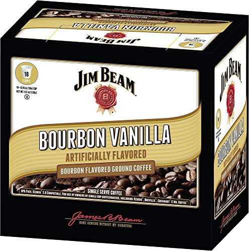 Jim Beam Bourbon Vanilla Single Serve Coffee, 18 cups, Keurig 2.0 Compatible