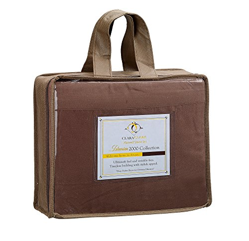 Clara Clark ® Premier 2000 Collection Bed Sheet Set, King Size, Chocolate (Premiere Product Set Mattress)