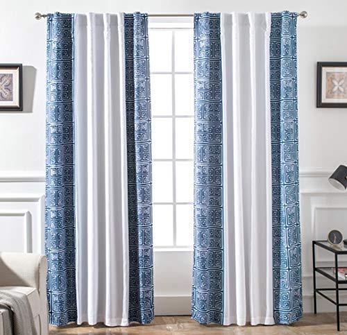 (DriftAway Greek Key Trim Geometric Trellis Pattern Lined Thermal Insulated Blackout/Room Darkening Back Tab Energy Saving Window Curtains, 2 Layer, Set of Two Panels, 52