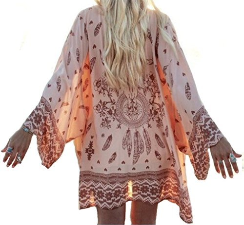 Bikini Cover Up Kimono Swimsuit Cover up Cardigan For Swimwear Women XS-M(Orange)