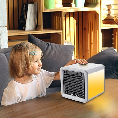 Mini Portable Personal Space Air Cooler,Humidifier,Purifier 3 in 1 USB Air Conditioner (white)