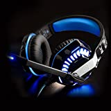Gaming Headset with Microphone, IKOCO GM-2 3.5mm Surround Stereo Over Ear Headband Computer Gaming Headphone Noise Isolating Volume Control LED Light for PS4 PC Xbox One & Mobile Phone (Blue)