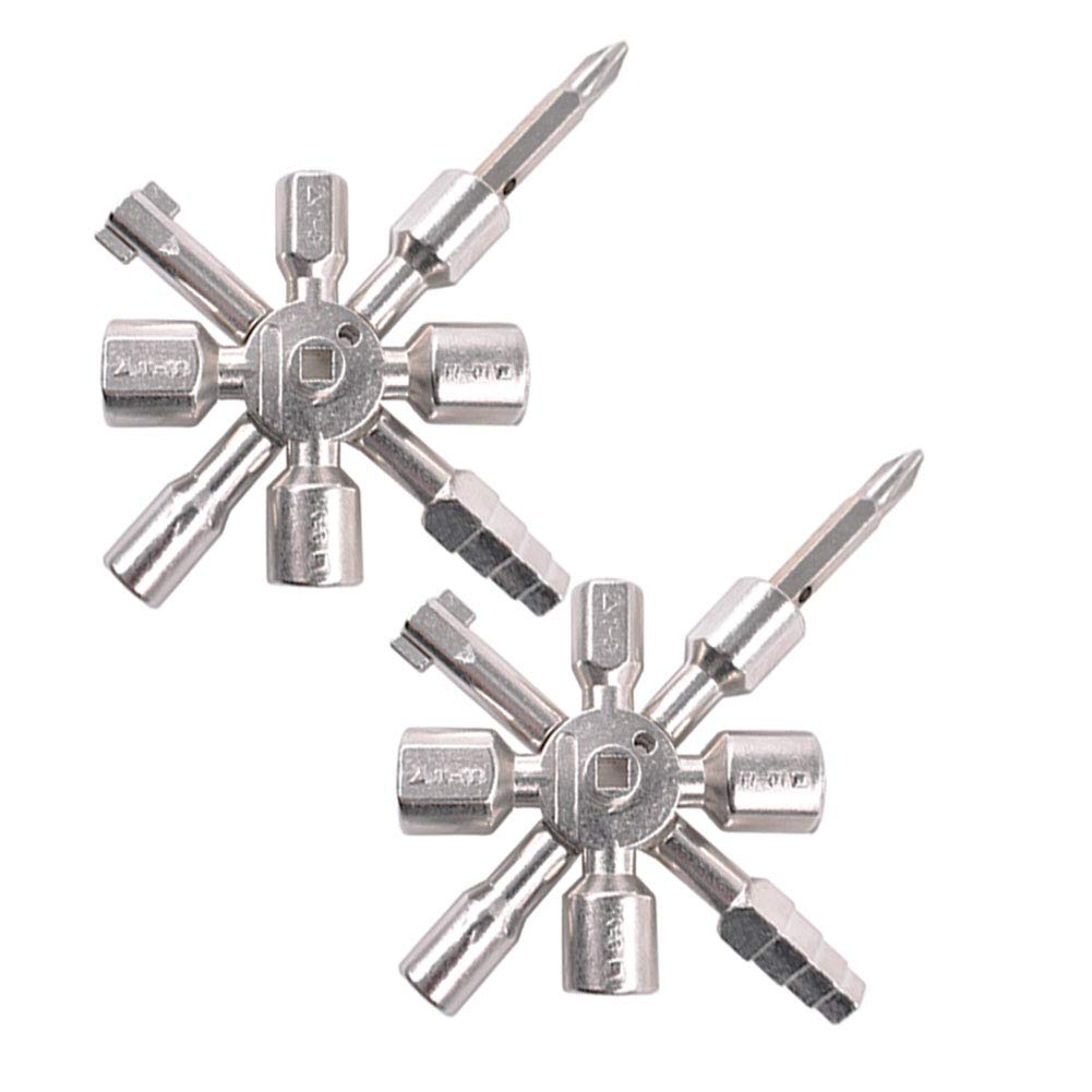 Metall-Kreuz-Schl/üssel 10 in 1 Multi Functional Kreuzschalter-Schl/üssel-Schl/üssel Universal-Quadrat Dreieck Handwerkzeug-Schrank Schrank /öffnet Key 1pc