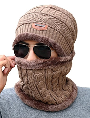 Unisex Beanie Skull Cap Hat Scarf Set Fleece Lining Knitted Winter Warm Thick Knit Slouchy Snowboarding (Coffee)