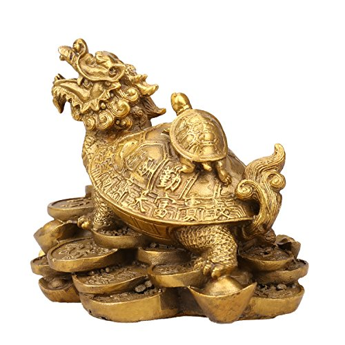 Brass Feng Shui Turtles On Top Of A Dragon feng shui dragon turtle