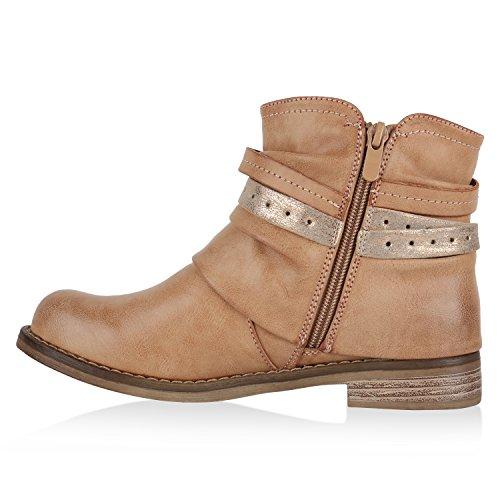 Stiefelparadies Gefütterte Damen Biker Boots Stiefeletten Winterschuhe Metallic Prints Nieten Schnallen Übergößen Schuhe Flandell Hellbraun Amares