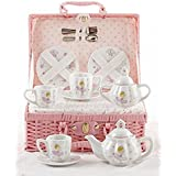Delton Products Bella Ballerina Porcelain Tea Set in Case, Pink
