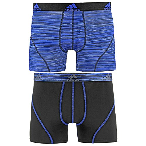 adidas Men's Sport Performance Climalite Trunk Underwear (2 Pack), Blue Looper Print/Black, Large