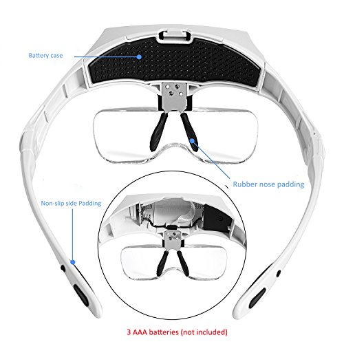 Lighted Headset Magnifying Glasses with lights Head Magnifier Loupe Headband for Close Work/Electronics/Eyelash/Crafts/Jewelry/Circuit Watch Repair,1.0X/1.5X/2.0X/2.5X/3.5X by MORDUEDDE (Image #6)