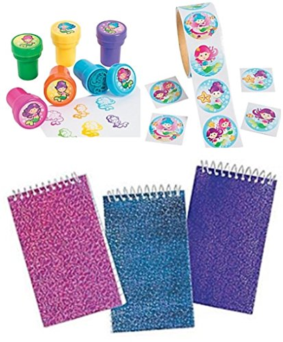 happy deals Mermaid Assortment - Includes 24 Glitter Notepads, 24 Mermaid Stampers + roll of 100 Mermaid stickers
