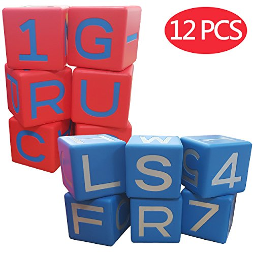 - Macro Giant 3.2 Inch Alphabet Blocks, Set of 12, Red & Blue, Educational Language Math Learning Aids Tools, Arabic Number 0-9, Toy Bricks, Playing Dice