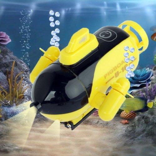 Mini-U-Boot, funkferngesteuert (40MHz) mit Suchscheinwerfer - Großer Unterwasser-Spaß im Miniformat für Aquarium, Badewanne...