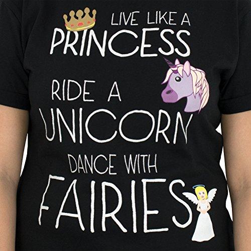 Emoji Damen Prinzessin und Einhorn T-Shirt