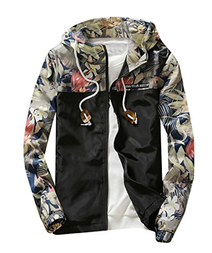 Price comparison product image M2MO Mens Floral Long Sleeve Hooded Windbreaker Jacket Black US S