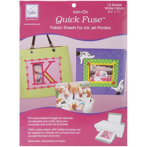 Iron On Fabric Sheets (June Tailor Quick Fuse Iron-On Inkjet Fabric Sheets, White,)