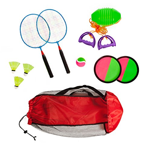 Combo outdoor play set of 3 Hook and Loop catch Speed ball & Badminton in mesh carryon bag by High Bounce