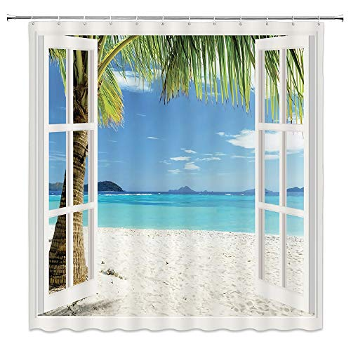 (Ocean Shower Curtain Decor by, Tropical Palm Trees on an Island Beach Through White Wooden Windows, Polyester Fabric Bathroom Shower Curtain Set with Hooks, White Blue )