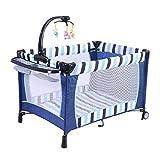 Costzon Baby Foldable Crib Bassinet Pack 'n Play Playard (Darke Blue)