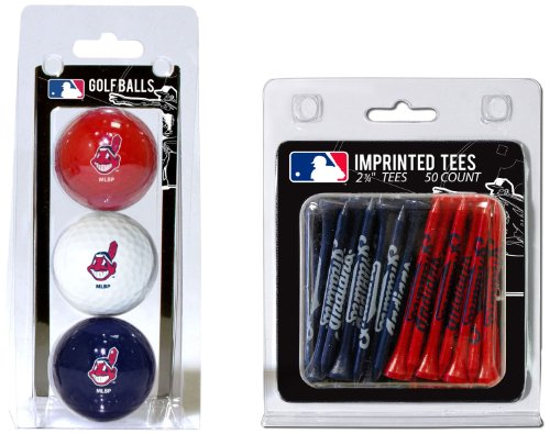 MLB Cleveland Indians 3 Golf Balls And 50 Golf Tees