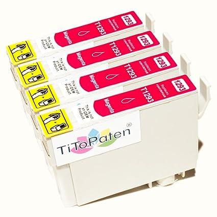 *TITOPATEN* 4x Epson Stylus Office BX 635 FWD Plus kompatible XL Druckerpatrone ersetzt Typ T1291-1294 - Magenta - Patrone MI