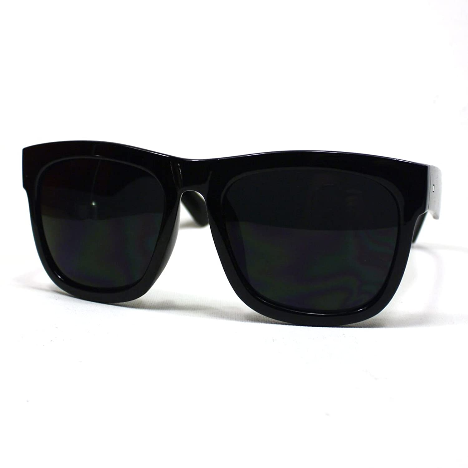 cheap wayfarer sunglasses  Amazon.com: Oversized Sunglasses Super Dark Lens Black Thick Horn ...