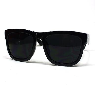 d970c11ba5 Oversized Wayfarer Sunglasses Super Dark Lens Black Thick Horn Rim Frame   Amazon.co.uk  Clothing