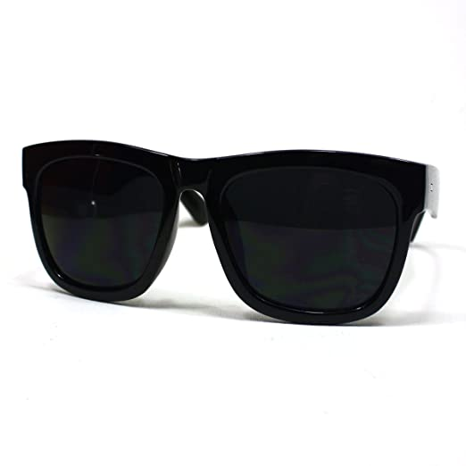 e352e57923 Image Unavailable. Image not available for. Color  Oversized Sunglasses  Super Dark Lens Black Thick Horn Rim Frame