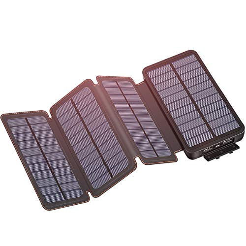 Solar Charger 25000mAh, IXNINE Solar Power Bank with 4 Solar Panels for Smartphones, Tablet, and Outdoor Camping