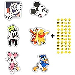 6 Skateboard Vinyl Stickers, YOU PICK, Laptop Ipad Luggage Helmet Bike Car + 43 FREE Smiley Stickers - Disney, Mickey Mouse, Winnie the Pooh...
