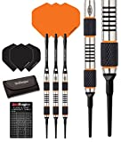 Red Dragon Amberjack Soft Tip: 18g - 90% Tungsten Steel Soft Tip Darts with Flights, Shafts, Wallet & Red Dragon Checkout Card
