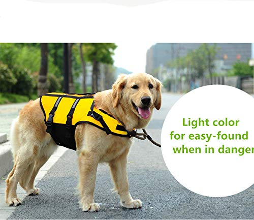 FidgetGear Reflective Life Jacket for Dog Vest Preserver Pet Water Safety XXS XS S M L XL XXXL Light Yellow